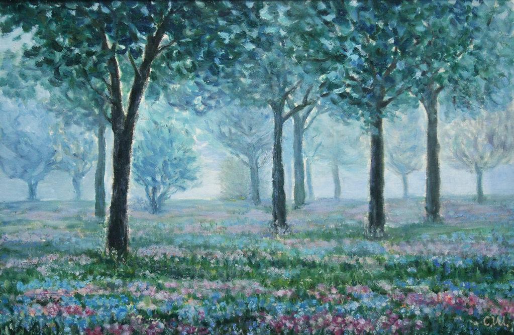 Весенний парк в тумане