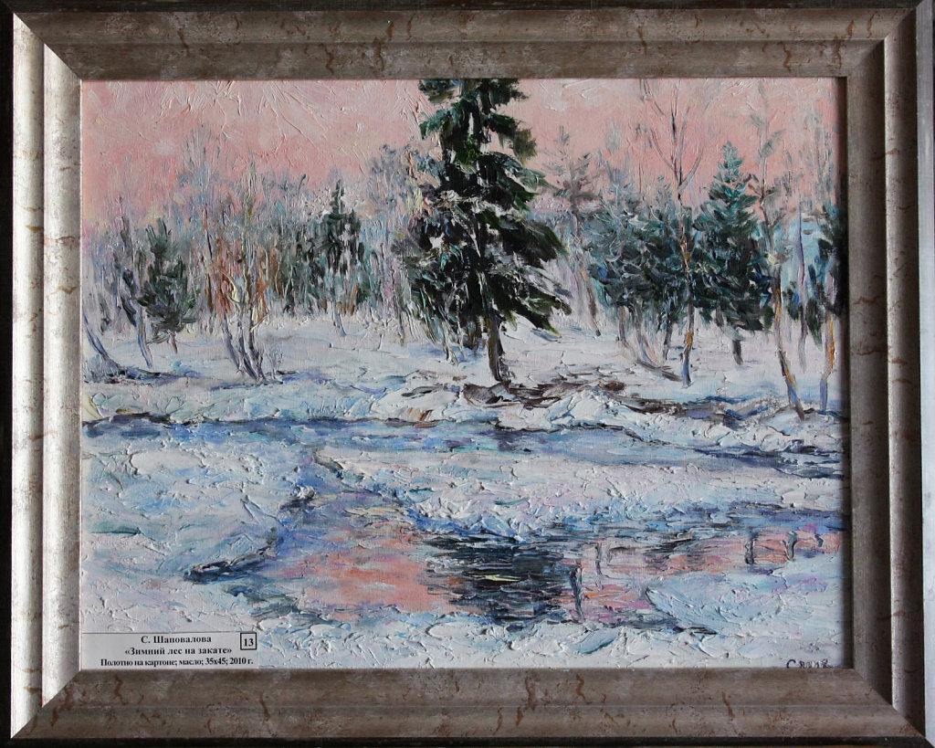 Зимний лес на закате